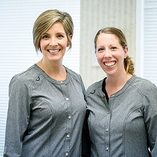 Sarah and Leah who are dental hygienists at Benjamin Turnwald Dentistry