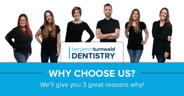 Image of the Benjamin Turnwald Dentistry team who're giving you 3 reasons to choose them as your dentist in Schaumburg, IL
